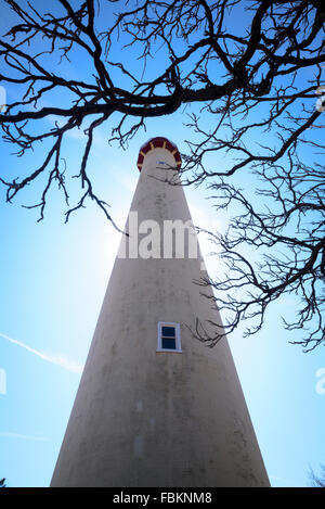 The Cape May Lighthouse was built in 1859 and is, still an active aid to maritime navigation - Stock Photo