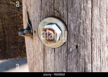 One rusted metal screw with hexagonal nut and washer embedded in weathered old gray wood post. - Stock Photo