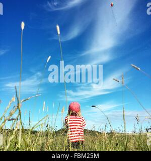 Rear View Of Boy Flying Kite In Grassy Field - Stock Photo