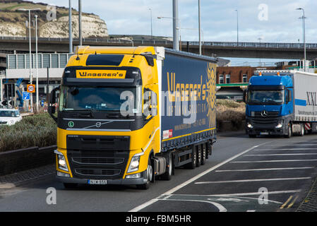 Lorries leaving the Port of Dover after crossing from France. - Stock Photo