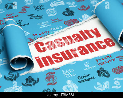 Insurance concept: red text Casualty Insurance under the piece of  torn paper - Stock Photo