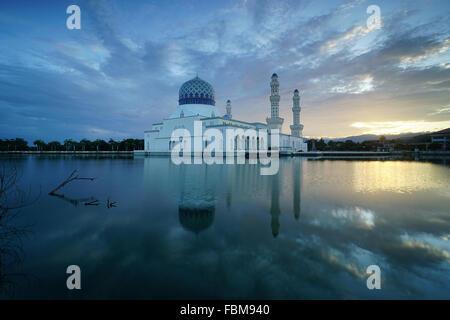 Floating Mosque,  Kota Kinabalu city, Sabah, Malaysia - Stock Photo