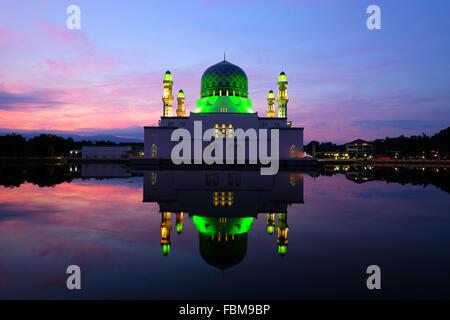 Floating Mosque at night,  Kota Kinabalu city, Sabah, Malaysia - Stock Photo