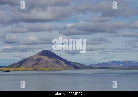 Volcano mount and lake in Myvatn Winter landscape, Iceland - Stock Photo