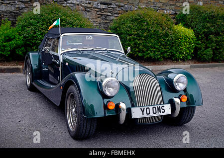 Racing green colored Morgan sports car pictured in West Cork Ireland.  British made famous marque - Stock Photo