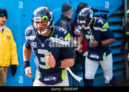 Charlotte, North Carolina, USA. 17th January, 2016. Seattle Seahawks quarterback Russell Wilson (3) during the NFL - Stock Photo