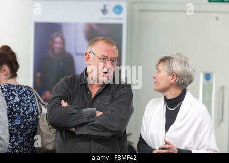 Kate Green OBE , a British Labour Party politician , talking with DJ Allan Beswick - Stock Photo