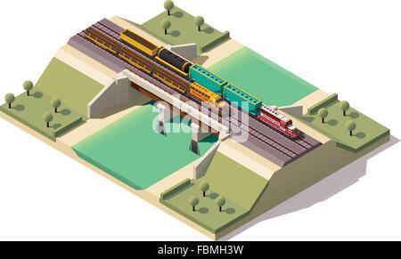 Vector isometric train bridge - Stock Photo