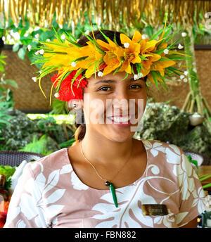 Cook Islander bar- lady wearing   headband garland at the Pacific Resort Aitutaki .Aitutaki Cook Islands South Pacific - Stock Photo