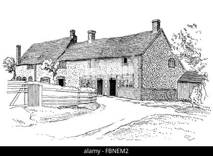 A Small Country Cottage Line Drawing By Architect RF Johnston