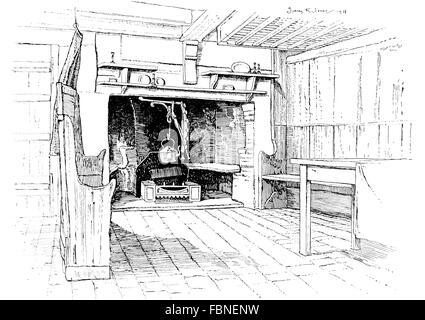 UK, England, Berkshire, East Hendred, cottage kitchen hearth, 1911 line illustration by, Sydney R Jones - Stock Photo