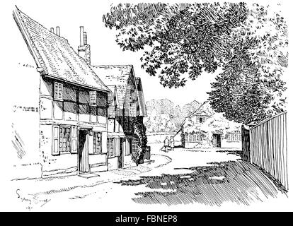 UK, England, Berkshire, Sonning village, old cottages in High Street, 1911 line illustration by, Sydney R Jones - Stock Photo