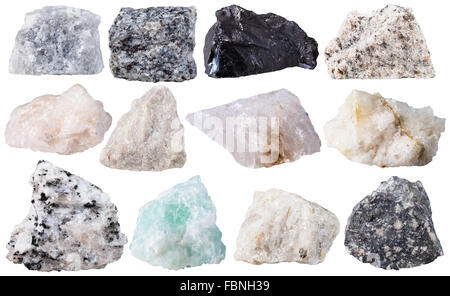 macro shooting of specimen natural rock - set from 12 specimens of mineral stones isolated on white background - Stock Photo