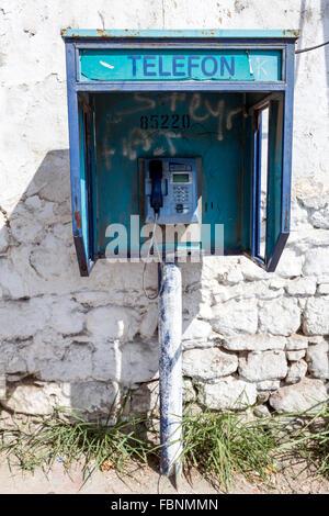 Old Turk Telefon public telephone in Bergama. - Stock Photo