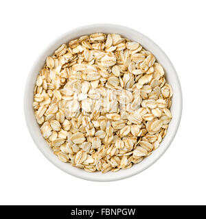 Overhead View of Organic Rolled Oats in a ceramic bowl - Stock Photo