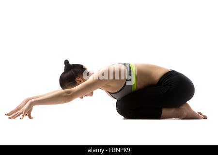 young black child doing gymnastics front walkover stock