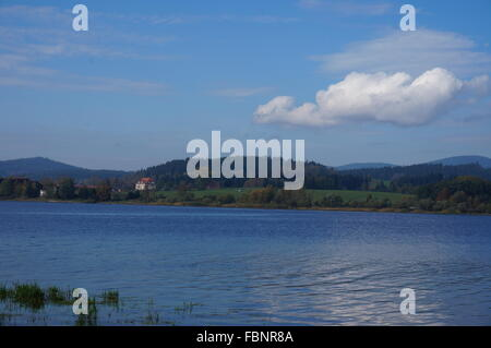 Scenic View Of Lake And Mountains Against Blue Sky - Stock Photo