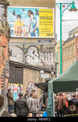 street scene, brick lane market,  tower hamlets, east london, england - Stock Photo