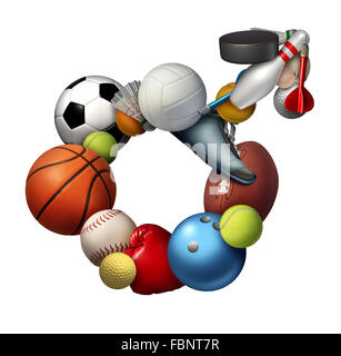 Male sports sign icon and symbol or sport men concept as a group of sporting equipment as soccer football tennis - Stock Photo