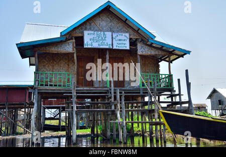 Library built on piles or stilts in the water above Inle Lake, Myanmar, formerly Burma, South East Asia - Stock Photo