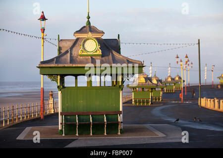 Preserved cast iron Edwardian  promenade  decorated shelters, Wrought iron, Victorian Shelter on Blackpool seafront - Stock Photo