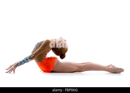 Attractive gymnast athlete teenage girl wearing dancer colorful leotard working out, dancing, posing, doing art - Stock Photo