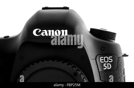 Canon 5D Mark III DSLR on a White background - Stock Photo