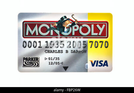 Monopoly Credit Card  The classic trading game from Parker Brothers was first introduced to America in 1935 - Stock Photo