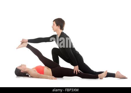 woman supta padangusthasana 1 hand to big toe pose posture