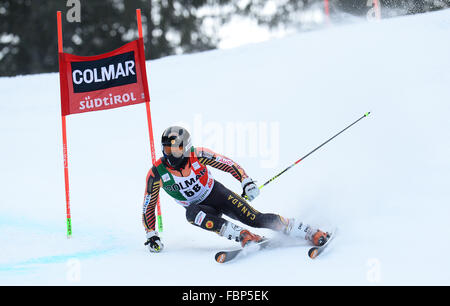 ALTA BADIA, ITALY - DECEMBER 22 2013: Competing in the AUDI FIS Alpine World Cup giant Slalom race on the Grand - Stock Photo