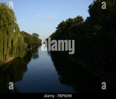 Willow Tree Over Canal - Stock Photo