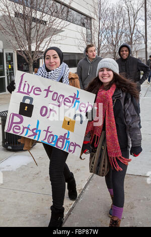 Dearborn, Michigan, USA. 18th January, 2016. Led by local high school students, hundreds of residents, including - Stock Photo