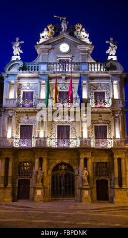 PLAZA CONSISTORIAL, Ayuntamiento  The facade of Pamplona City Hall in Plaza Consistorial - Navarre, Spain - Stock Photo