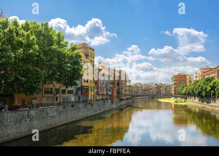 Colorful houses in Girona, Catalonia, Spain - Stock Photo