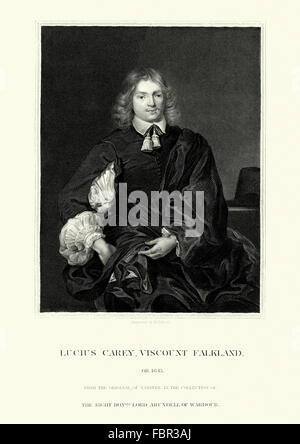 Lucius Cary, 2nd Viscount Falkland 1610 to1643 an English author and politician who sat in the House of Commons - Stock Photo