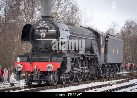The newly restored Flying Scotsman locomotive on the East Lancashire railway. - Stock Photo