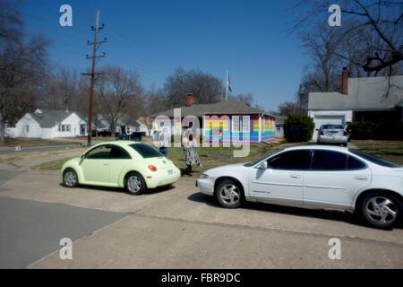 Topeka, Kansas, USA, 29th March, 2014 The Rainbow House Topeka Kansas. Aaron Jackson, one of the founders of Planting - Stock Photo