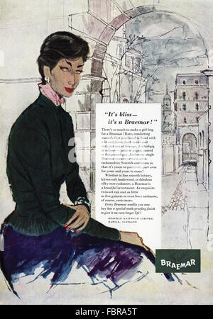 Original vintage full page colour advert from 1950s. Advertisement from 1954 advertising Braemar Knitwear of Hawick - Stock Photo