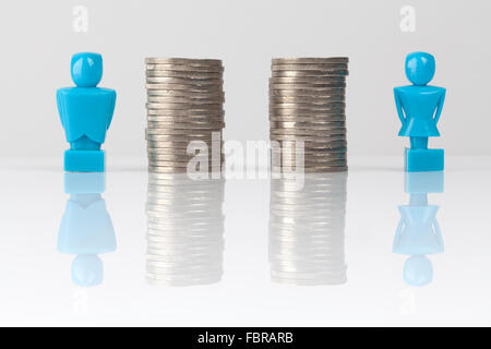 Male and female figurines standing next to equal piles of coins. Income equality concept. - Stock Photo