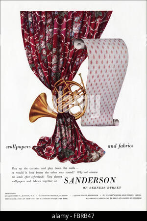 Original vintage full page colour advert from 1950s. Advertisement from 1954 advertising Sanderson wallpapers & - Stock Photo
