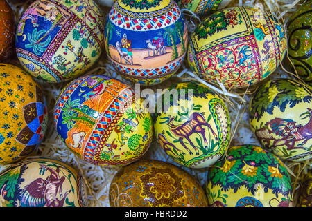 The eggs are covered with fine mosaics on biblical themes. View from above. - Stock Photo