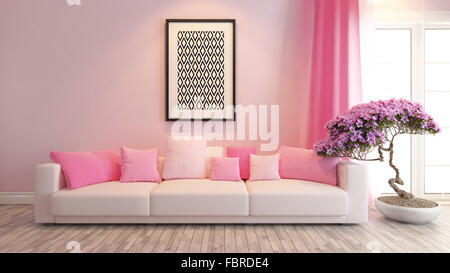 Colorful relax spot with wooden furniture in a stylish, white living ...