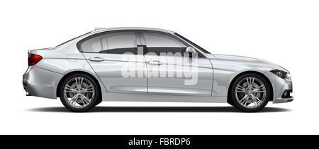 Silver sedan car - side angle - Stock Photo