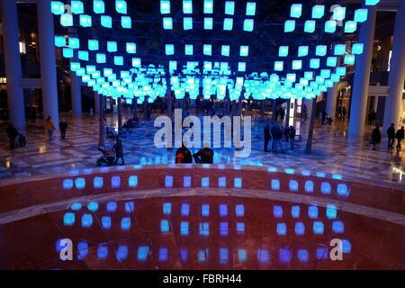 ... Luminaries - a spectacular lighting display at the Winter Garden,  Brookfield Place, New York
