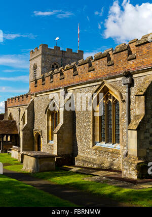 Exterior view of the medieval parish church of Saint Mary the Virgin in Ewelme a village in South Oxfordshire England - Stock Photo