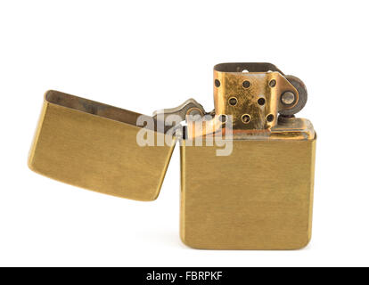 A vintage zippo lighter opened isolated on white. - Stock Photo