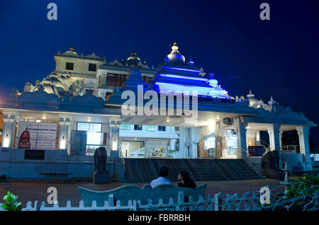 View of ISKCON Temple during night at Chennai, Tamil Nadu, India, Asia - Stock Photo