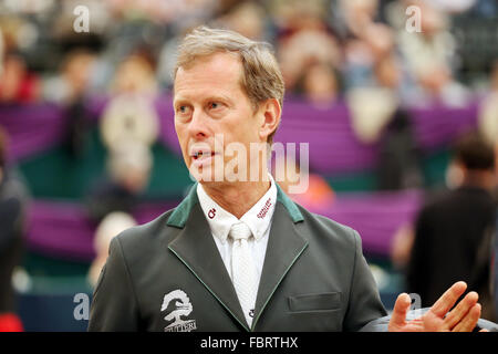 Leipzig, Germany. 17th Jan, 2016. Sweden's Rolf-Goran Bengtsson pictured at the show jumping course prior to the - Stock Photo