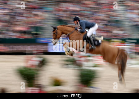 Leipzig, Germany. 17th Jan, 2016. France's Simon Delestre riding Chesall jumps over a hurdle during the show jumping - Stock Photo