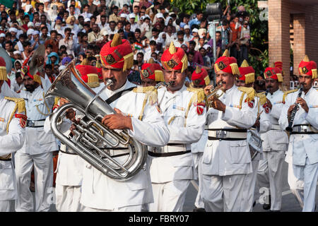 Brass-band - India Pakistan border ceremony at Wagah. - Stock Photo